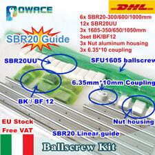 【IT+EU】SBR20 Linear Rail Guide+3 Set SFU1605 350/650/1050 Ballscrew &Nut+BK/BF12