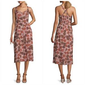 Convertible Strap Midi Dress Palm Tree Summer Sleeveless Tropical Women XS