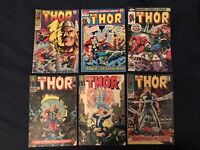 THOR Silver & Bronze Age Lot of 6 comics #131,138,145,158 (KEY),206,290 Avg VG-