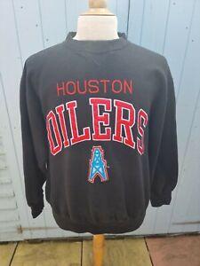 Vintage Logo Athletic Houston Oilers Sweatshirt Black Large