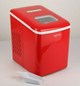 Red Ice Maker Machine Counter Top Ice Cube Maker 1.8L Tank Grade B Used