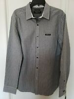 New Kenneth Cole New York Long Sleeve Black/White Plaid Button-Up Shirt Medium