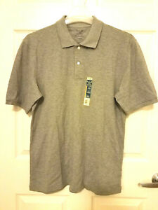 FADED GLORY Men's Short Sleeves Gray Polo Shirt - medium