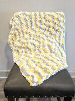 "Handmade Knit baby blanket new 29""x37"""