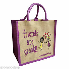 """Friends are Great"" Jute Shopper from These Bags Are Great"