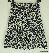 Nougat London 1 Navy Blue & Beige Floral A Line Cotton Skirt NEW Fits XS