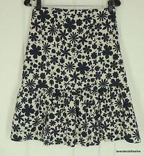 Nougat London 1 Navy Blue & Beige Floral A Line Cotton Skirt NEW Fits XS