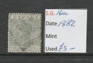 CYPRUS SG16a, ½pi dull green, FINE USED.