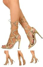 Exotic Wear Metallic Lace Up Stiletto High Heels Open Toe Gladiator Sandals H181