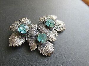 Vintage Unusual 1940's/50's Triple Leaf & Blue Glass Brooch