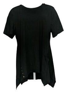 LOGO by Lori Goldstein Women's Sz L Cotton Modal Knit Top/Buttons Black A301072