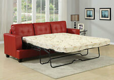 Platinum Sofa Bed 3-Seater Pull Out Queen Sleeper Tufted Red Bonded Leather