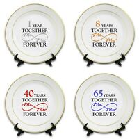 Two Hearts Novelty Ceramic Plate /& Stand Gold Rim 8 Wedding Anniversary 20th China