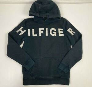 Tommy Hilfiger Hoodie. Navy Blue. Mens. Unisex. Small. Spell Out. Hilfiger Denim