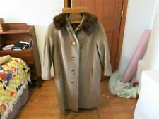 VINTAGE YOUTHCRAFT WOOL COAT PS MINK COLLAR LINED THE IRENE SHOP BEIGE HALLOWEEN