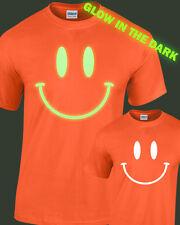 Sonriente Cara Brilla en la Oscuridad Camiseta Infantil Brillante Rave Club
