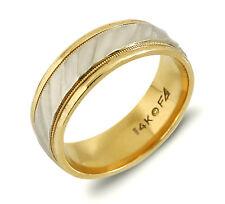 Men's Luxury 7.0 Wide Frederick Goldman 14k SOLID White & Yellow GOLD
