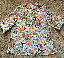 EUC Alfred Dunner Women's Semi Sheer Green Brown Rust Floral Button Shirt 16W