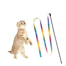 Rainbow Cloth Ribbon Tease Cats Rod Pets Kitten Interactive Scratching Funny Toy