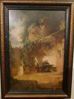 "W. Moralt ""In a Monastery"" Willi Moralt Famous German Artist Painter Antique Vin"