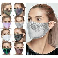 Sequin Face Mask Reusable Masken Mundschutz Atemberaubende Hülle