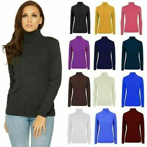 LADIES HIGH ROLL POLO NECK RIBBED JUMPER WOMEN'S KNITTED WINTER SWEATER TOP UK