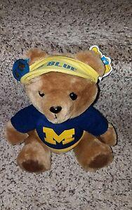 """9"""" VINTAGE 1986 R DAKIN BROWN SONNY TEDDY BEAR W/ HAT plush U of M Go Blue Bear"""