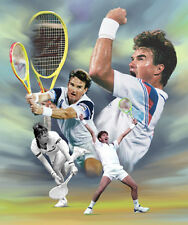 Jimmy Connors: giclee print on canvas poster painting for autograph  B-2677