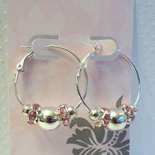 Pink Crystal Silver Beads Silver Hoop Earrings Basketball Wives Insp #AA