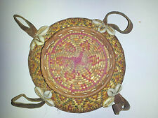 Antique Small Ethiopian Basket with Cowrie Shells and Leather Straps