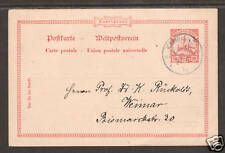 German New Guinea H&G 9 used 1910 10pf Postal Card to Weimar, Germany