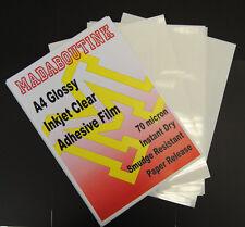 20x A4 Inkjet Papier Bedruckbar Klar Selbstklebend Sticker Folie 70 Mic