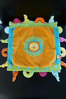 8/ DOUDOU comfoter PLAT LION - ALEX JR - orange bleu vert - EXCELLENT ETAT !