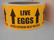 LIVE EGGS AVOID EXTREME HEAT OR COLD Hatching Egg Label Fluor Orange 250/rl