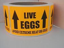 LIVE EGGS AVOID EXTREME HEAT OR COLD Hatching Egg Label Fluor Orange 250/rl