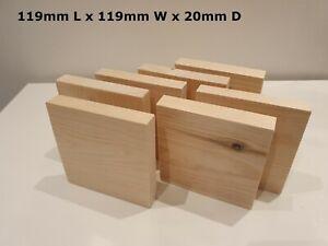 Wooden 119mm Square Blocks/Plaques Crafts Bundle Natural Eco Bricks