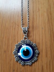 Evil eye greek pendant necklace gift mandala yoga reiki protection flower gift