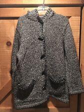 Women's Lauren Ralph Lauren Hand Knit Toggle Button Wool Sweater Jacket Sz Large