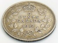 1917 Canada Five 5 Cent Small Silver Circulated Canadian George V Coin K035