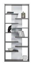 Modern Office Teenage Living Room Bookcase ZENO 8 Shelving Storage in Grey/White