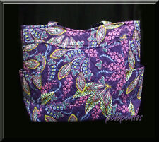 Vera Bradley Batik Leaves Floral Pleated Tote Shoulder Bag Purse