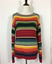 Chaps Size L Sweater Striped Southwestern Saddle Blanket Rainbow Colors Bateau