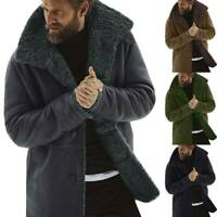 Lined Lapel Coat Warm Trench Parka Fluffy Casual Jacket Fleece Winter Mens Fur