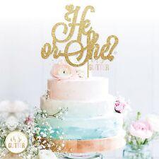 gender reveal cake topper, baby shower glitter cake topper boy or girl he or she