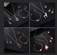 Women Christmas Jewelry Set Santa Claus Necklace Earrings Ring Bracelet Xmas