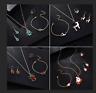 Women Christmas Jewelry Set Santa Claus Necklace Earrings Ring Bracelet Xmas