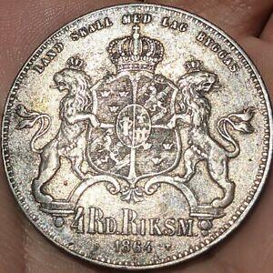 SWEDEN 1864 ST 4 Riksdaler  XF, NICE COIN. LOW MINTAGE KM#711
