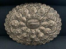 """Antique Orhan Kenan Turkish Silver Hanging Mirror Large 17.25"""" x 13"""", hallmarked"""