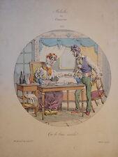 RARE Litho CARICATURE PIGAL MEDAILLES ou CONTRASTES RESTAURATION SEDUCTION 1829