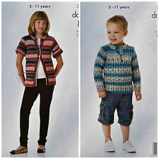 KNITTING PATTERN Childrens Ribbed Cardigan & Button Neck Jumper DK KingCole 3847